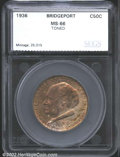 Additional Certified Coins: , 1936 50C Bridgeport MS66 Toned SEGS. Rich golden and rose ...