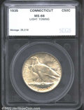 Additional Certified Coins: , 1935 50C Connecticut Half MS66 Light Toning SEGS. ...