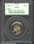 Proof Washington Quarters: , 1981-S 25C Type One PR 68 PCGS. ...