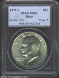 Eisenhower Dollars: , 1971-S $1 Silver MS65 PCGS. ...