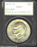 Eisenhower Dollars: , 1973-S $1 Silver MS67 PCGS. ...