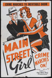 "Main Street Girl (Syndicate Pictures, 1938). One Sheet (27"" X 41""). Crime. Starring Jean Carmen, Richard Adams..."