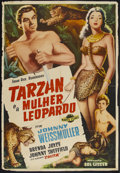 "Movie Posters:Adventure, Tarzan and the Leopard Woman (Marte Filmes, 1946). Brazilian OneSheet (29"" X 42""). Adventure. Starring Johnny Weissmuller, ..."