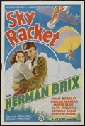 "Movie Posters:Action, Sky Racket (Victory Pictures, 1937). One Sheet (27"" X 41""). Action.Starring Bruce Bennett (Herman Brix), Joan Barclay, Dunc..."