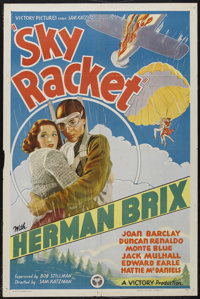 "Sky Racket (Victory Pictures, 1937). One Sheet (27"" X 41""). Action. Starring Bruce Bennett (Herman Brix), Joan..."