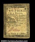 Colonial Notes:Continental Congress Issues, Continental Currency February 17, 1776 $2/3 Extremely Fine....