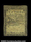 Colonial Notes:Continental Congress Issues, Continental Currency February 17, 1776 $2/3 Very Fine. ...