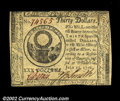 Colonial Notes:Continental Congress Issues, Continental Currency July 22, 1776 $30 Very Choice New. ...