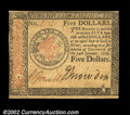 Colonial Notes:Continental Congress Issues, Continental Currency January 14, 1779 $5 Choice New. A ...