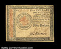 Colonial Notes:Continental Congress Issues, Continental Currency January 14, 1779, $5 Choice About New....
