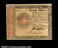 Colonial Notes:Continental Congress Issues, Continental Currency January 14, 1779 $20 Gem New. An ...