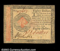 Colonial Notes:Continental Congress Issues, Continental Currency January 14, 1779 $80 Choice New. The ...