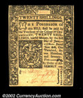 Colonial Notes:Connecticut, Connecticut June 1, 1775 20s Gem New. Very well margined ...