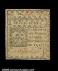 Colonial Notes:Connecticut, Connecticut October 11, 1777 7d About New. Slit canceled ...