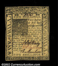 Colonial Notes:Delaware, Delaware January 1, 1776 5s Very Choice New. This is a ...