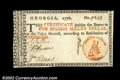Colonial Notes:Georgia, Georgia 1776 $1 Choice About New. A spectacular note, with ...