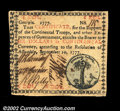 Colonial Notes:Georgia, Georgia September 10, 1777 $6 Choice About New. A ...