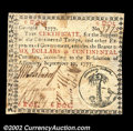Colonial Notes:Georgia, Georgia September 10, 1777 $6 Extremely Fine. The seal is ...