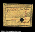 Colonial Notes:Massachusetts, Massachusetts May 5, 1780 $1 Very Choice New. This note, ...