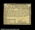 Colonial Notes:Massachusetts, Massachusetts May 5, 1780 $2 Extremely Fine. Uncanceled ...