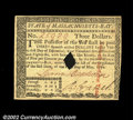 Colonial Notes:Massachusetts, Massachusetts May 5, 1780 $3 Gem New. But for its small ...