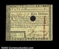 Colonial Notes:Massachusetts, Massachusetts May 5, 1780 $5 Very Choice New. This note ...