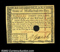 Colonial Notes:Massachusetts, Massachusetts May 5, 1780 $8 Very Choice New. This fully ...
