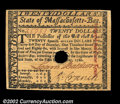 Colonial Notes:Massachusetts, Massachusetts May 5, 1780 $20 Gem New. But for its small ...