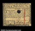 Colonial Notes:Massachusetts, Massachusetts May 5, 1780 $20 New. Canceled with a small ...