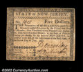 Colonial Notes:New Jersey, New Jersey June 9, 1780 $5 Very Fine. This nice note has ...