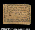 Colonial Notes:New York, New York City of New York February 20, 1790 1d Fine. ...