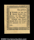Colonial Notes:Pennsylvania, Pennsylvania January 18, 1777 6d Gem New. The Six Pence ...