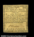 Colonial Notes:Rhode Island, Rhode Island May 22, 1777 $1/8 Extremely Fine. A very nice ...