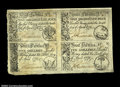 Colonial Notes:South Carolina, South Carolina April 10, 1778 Uncut Sheet of Four Choice New....