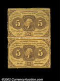 Fractional Currency:First Issue, Fr. 1228 5¢ First Issue Vertical Pair Very Choice New. ...