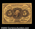 Fractional Currency:First Issue, Fr. 1230 5¢ First Issue Superb Gem New. Hugely margined, ...