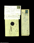 Miscellaneous:Checks, Handwritten Checks. A group of four nineteenth century ...