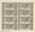 Confederate Notes:1864 Issues, T68 $10 1864 Uncut Sheet of Eight. A lovely framed sheet ...
