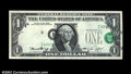 Error Notes:Shifted Third Printing, Fr. 1908-I $1 1974 Federal Reserve Note. About Uncirculated....