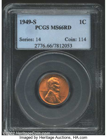1949-S 1C MS66 Red PCGS      Lincoln Cents | Lot #15150 | Heritage