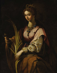 ROMAN SCHOOL Saint Catherine Of Alexandria, circa 1800 Oil on canvas 53 x 41 inches (134.6 x 104.1 cm)  Provenance: