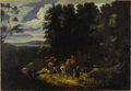 Fine Art - Painting, European:Antique  (Pre 1900), Circle of JAN HACKAERT (Dutch 1629-circa 1685). A Hunting PartyIn A Wooded Landscape. Oil on canvas. 32-7/8 x 47-3/8 in...