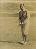Golf Collectibles:Autographs, 1930 Walter Hagen Signed Large Photograph. Magnificent sepia imageis the finest we've ever seen of this legend of the link...