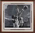 Basketball Collectibles:Others, Wilt Chamberlain & Bill Russell Signed Lithograph by Stephen Holland. The irresistable force meets the immovable object in ...