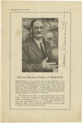Basketball Collectibles:Others, 1936 James Naismith Signed Basketball Program. While the argumentsabout the Doubleday and Cartwright and the origins of ba...