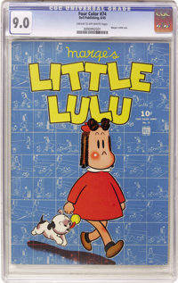 Four Color #74 Little Lulu (Dell, 1945) CGC VF/NM 9.0 Cream to off-white pages. Lulu, Marge Henderson Buell's wonderful...