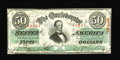 Confederate Notes:1863 Issues, T57 $50 1863. Cr-406, PF-1. A lone corner bump keeps this note froma full Choice grade, so it is unlikely this issued note ...