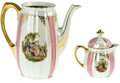 Movie/TV Memorabilia:Memorabilia, Ava Gardner Owned Teapot and Cream Pitcher. A white porcelain teapot with pink and gold design, with matching cream pitcher...