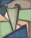 Fine Art - Painting, European:Modern  (1900 1949)  , LUIBOV POPOVA (Russian 1889-1924). Untitled. Oil, gouache and collage on paper. 9 x 7-3/8 inches (22.9 x 19.9 cm). Init...