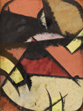 Fine Art - Painting, European:Modern  (1900 1949)  , LUIBOV POPOVA (Russian 1889-1924) . Oil and gouache on paper. 8-1/2 x 6-1/4 inches (21.6 x 15.9 cm). Initialed lower righ...